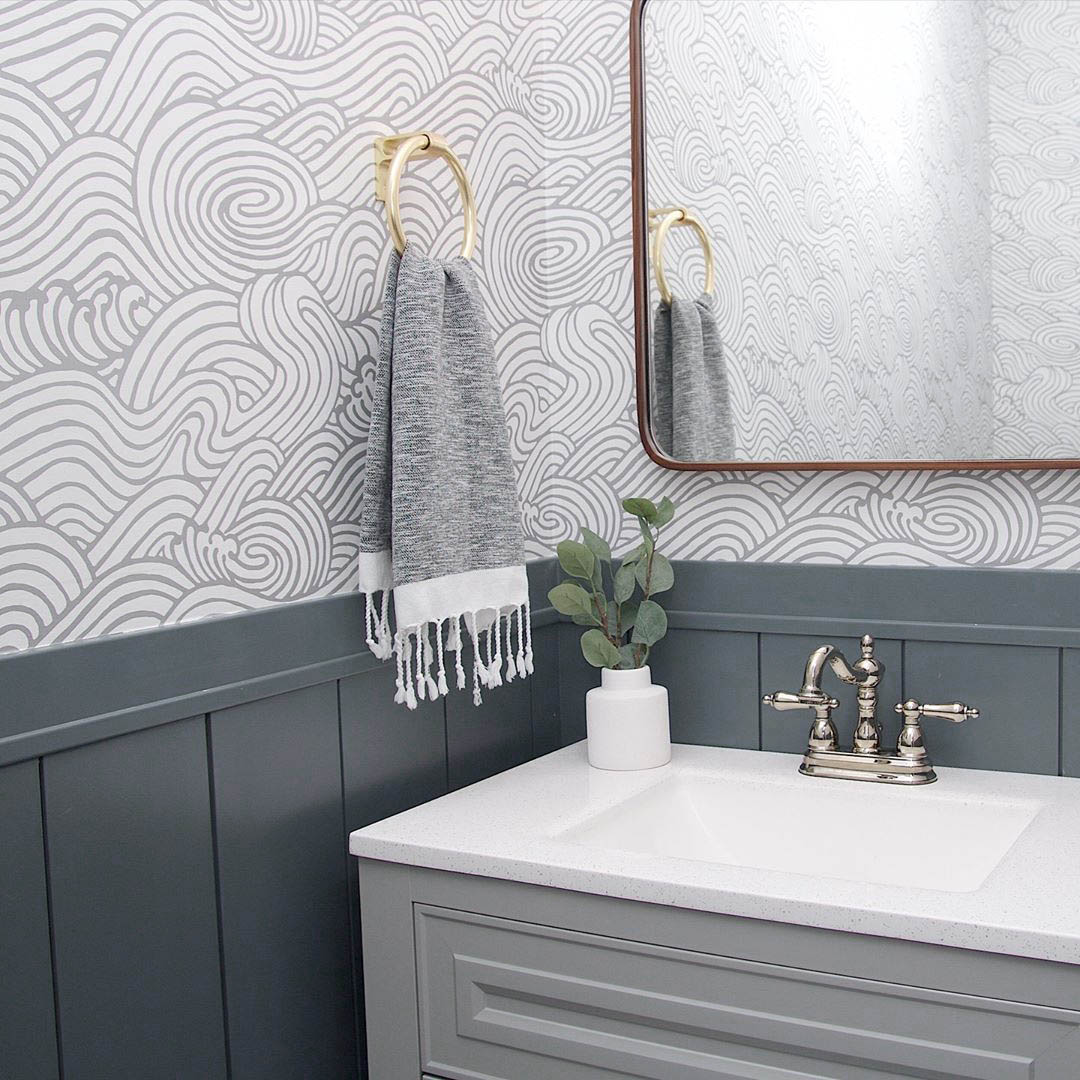Irony - the Best Dark Gray Paint Color by Clare looks great in any room - especially this bathroom on the shiplap trim!