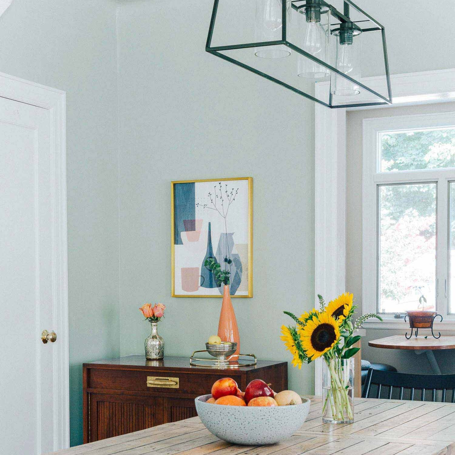 Grayish is a paint color with deeper green undertones and works wonders in a room with an abundance of neutrals. It's a beautiful light gray paint!