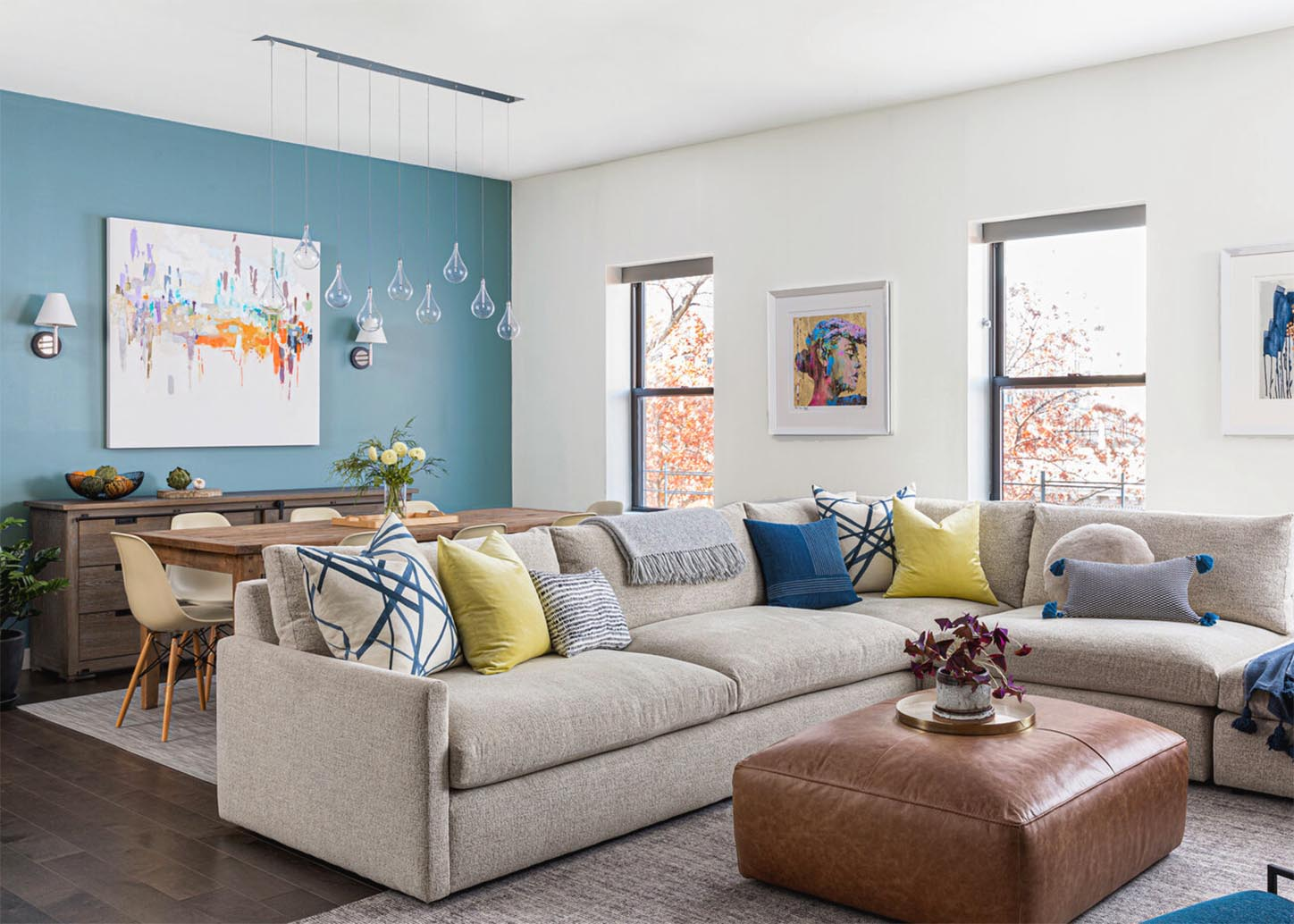 Living room with blue wall | Clare Paint Blue Jeans