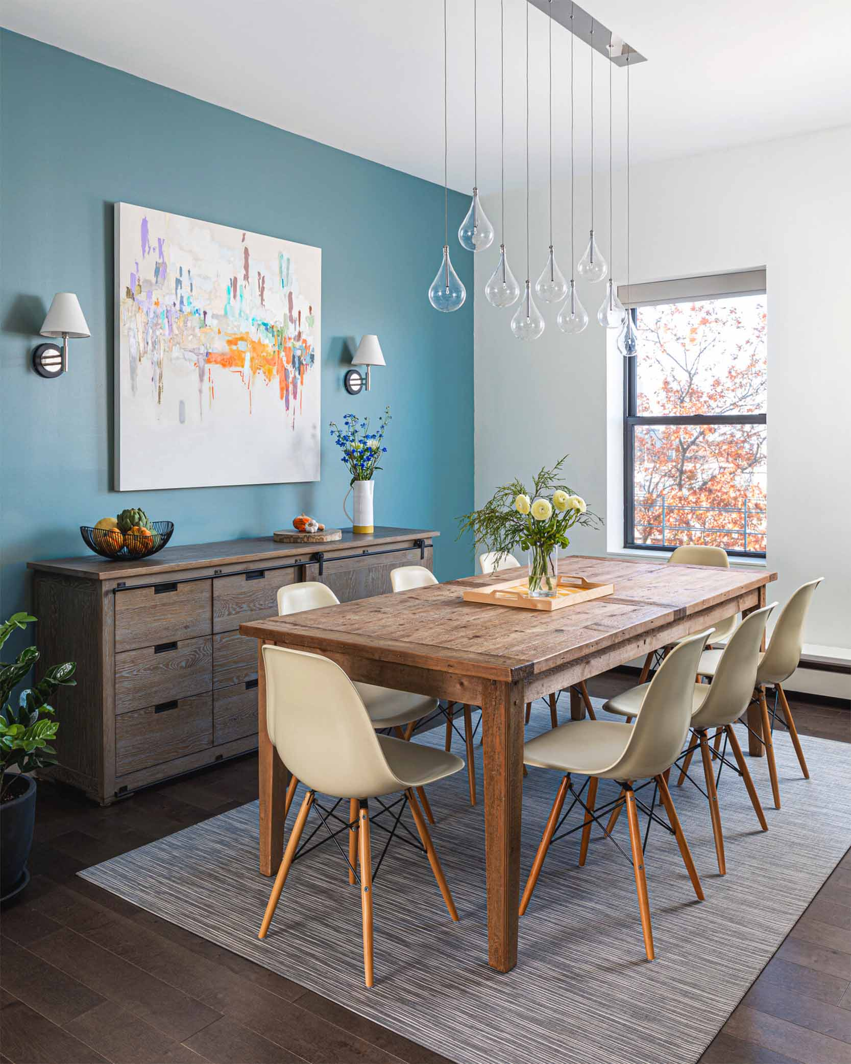 Blue accent wall dining room | Clare Paint Good Jeans