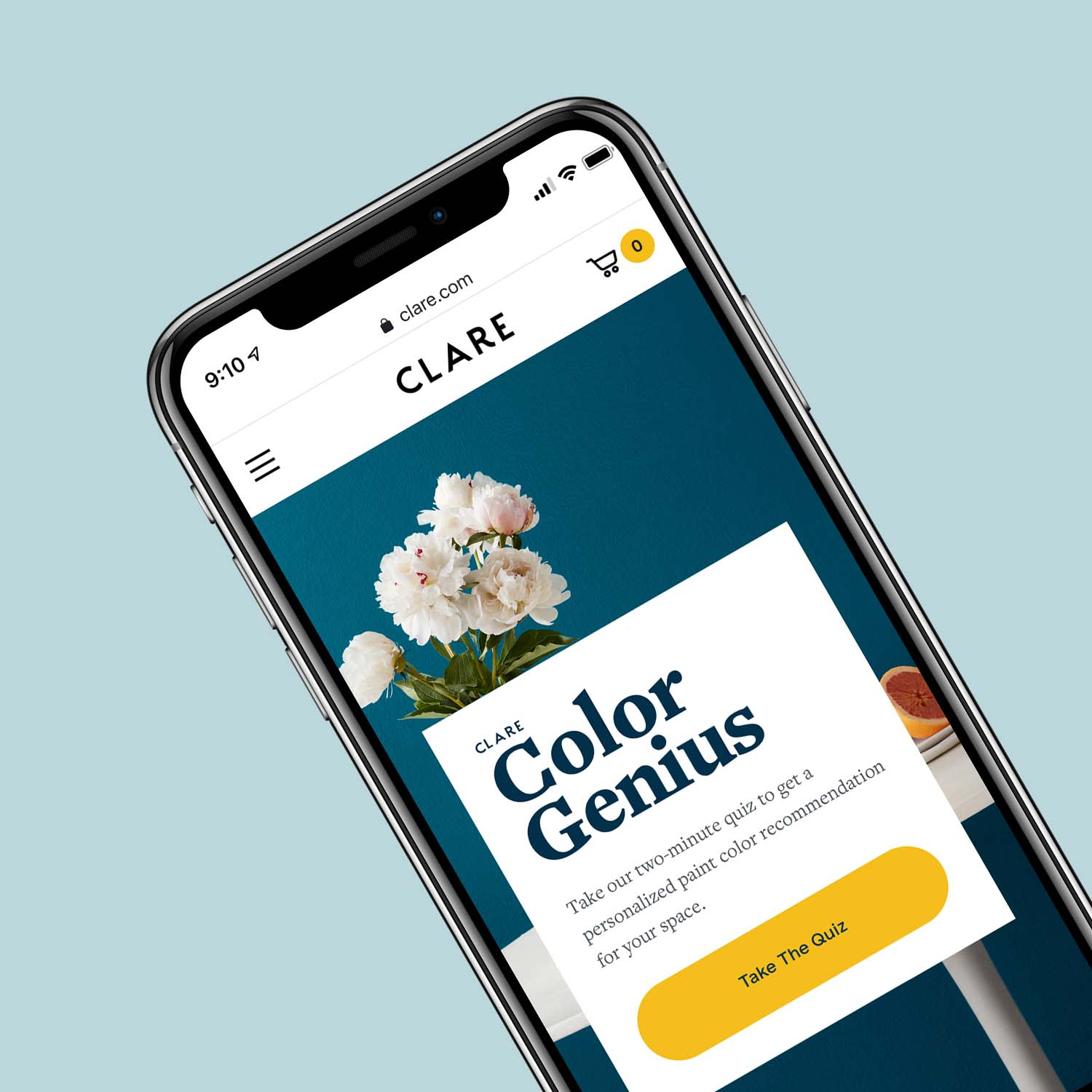 To help you choose a paint color online, we created Clare Color Genius to guide you. Just answer a few easy questions, and you'll get a personalized color recommendation for your space...it's like having an interior designer to help you choose the perfect color!
