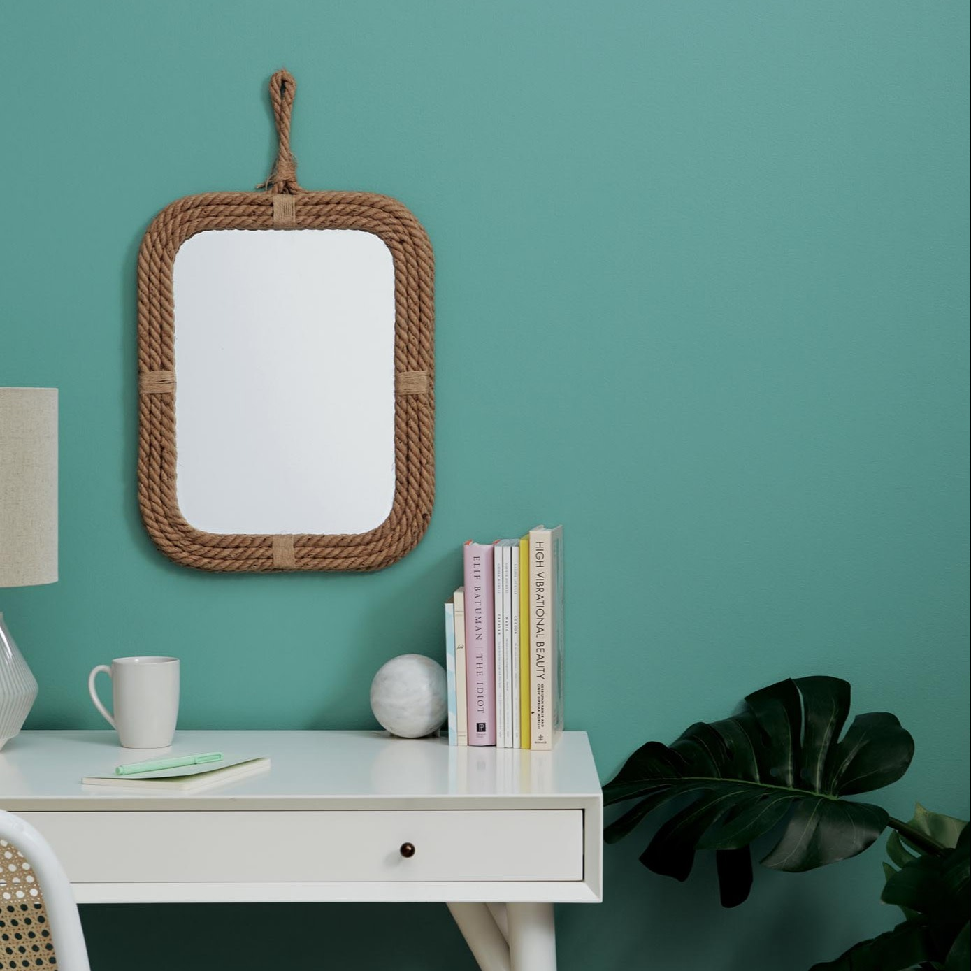 vanity mirror, desk, and plant, teal wall paint color Clare paint vacay