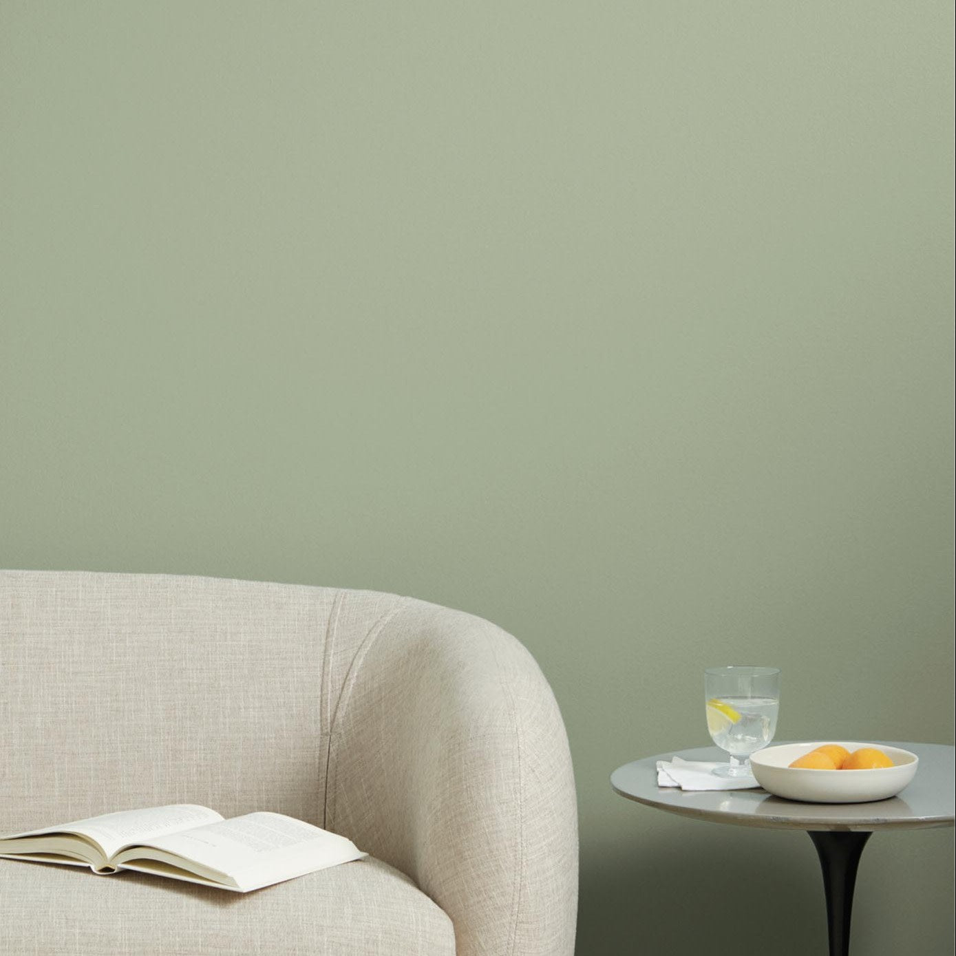 sofa and table Clare paint green money moves