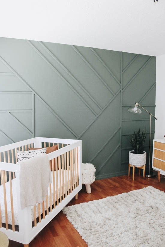 kids bedroom accent wall green paint