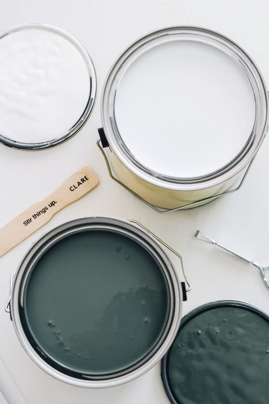 Clare Paint Colors - Current Mood and Whipped. Opened paint cans with Wet Paint.