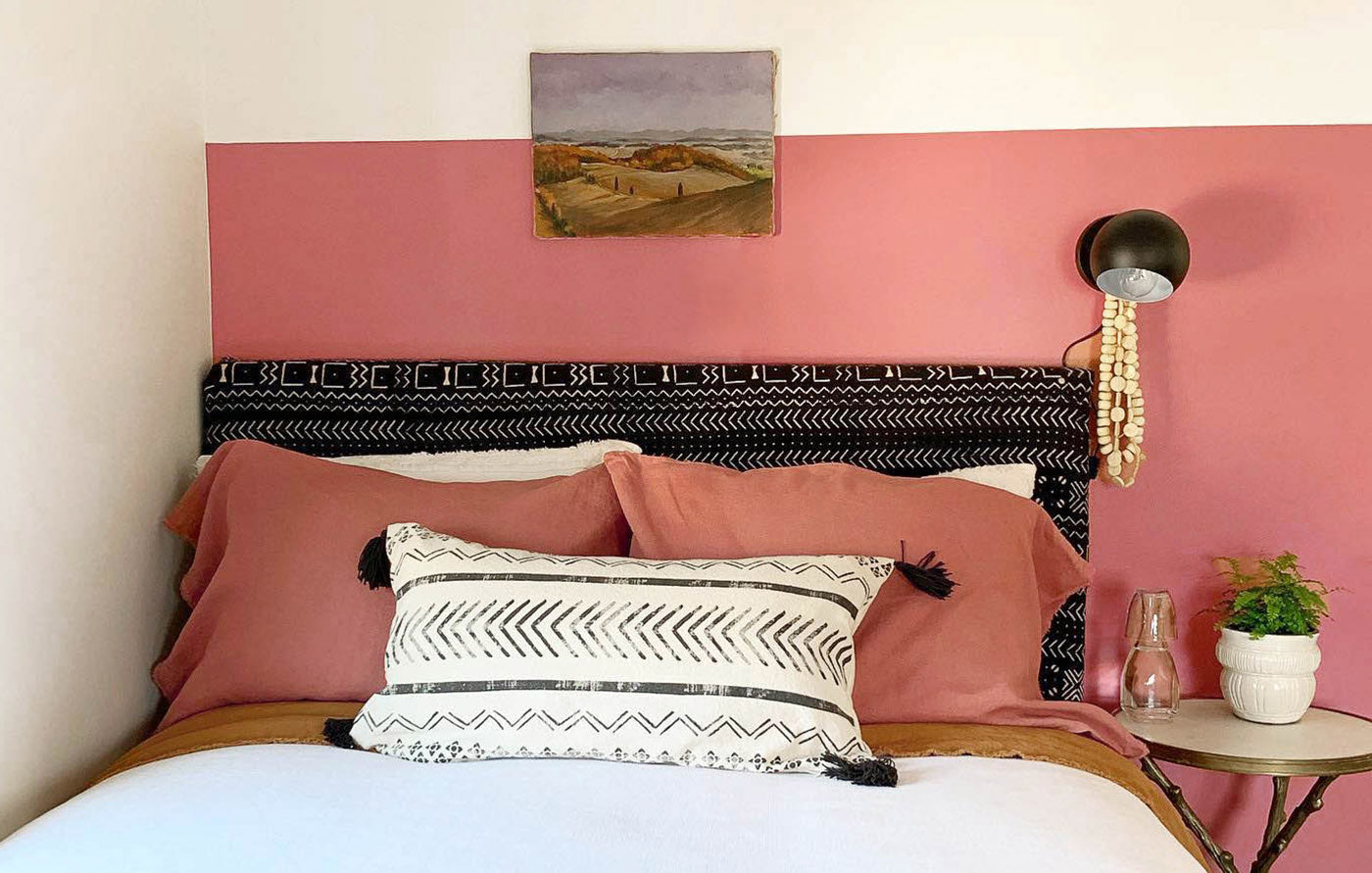 How to create a welcoming guest room for houseguests, featuring pink paint color Pink Sky by Clare.