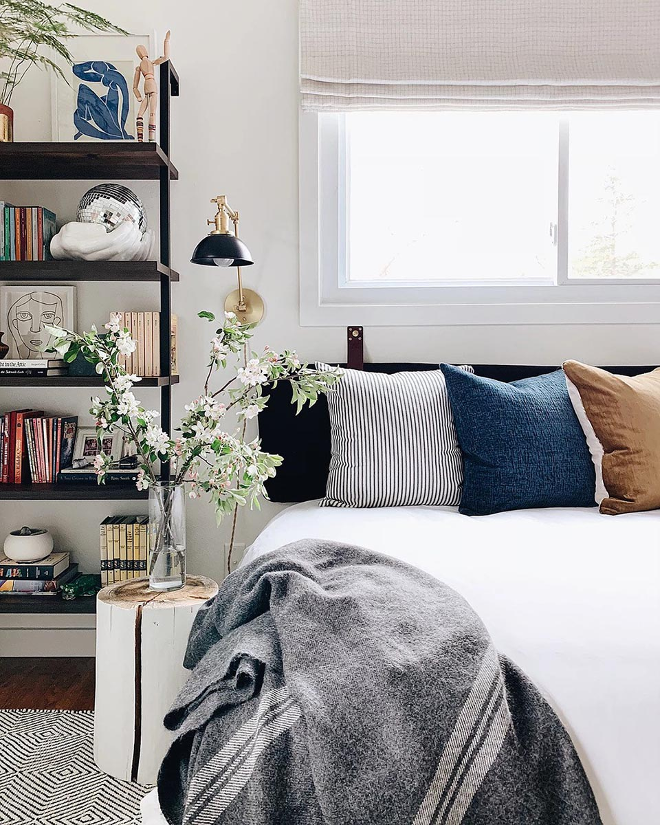 How to create a welcoming guest room for houseguests, featuring white paint color Whipped by Clare.