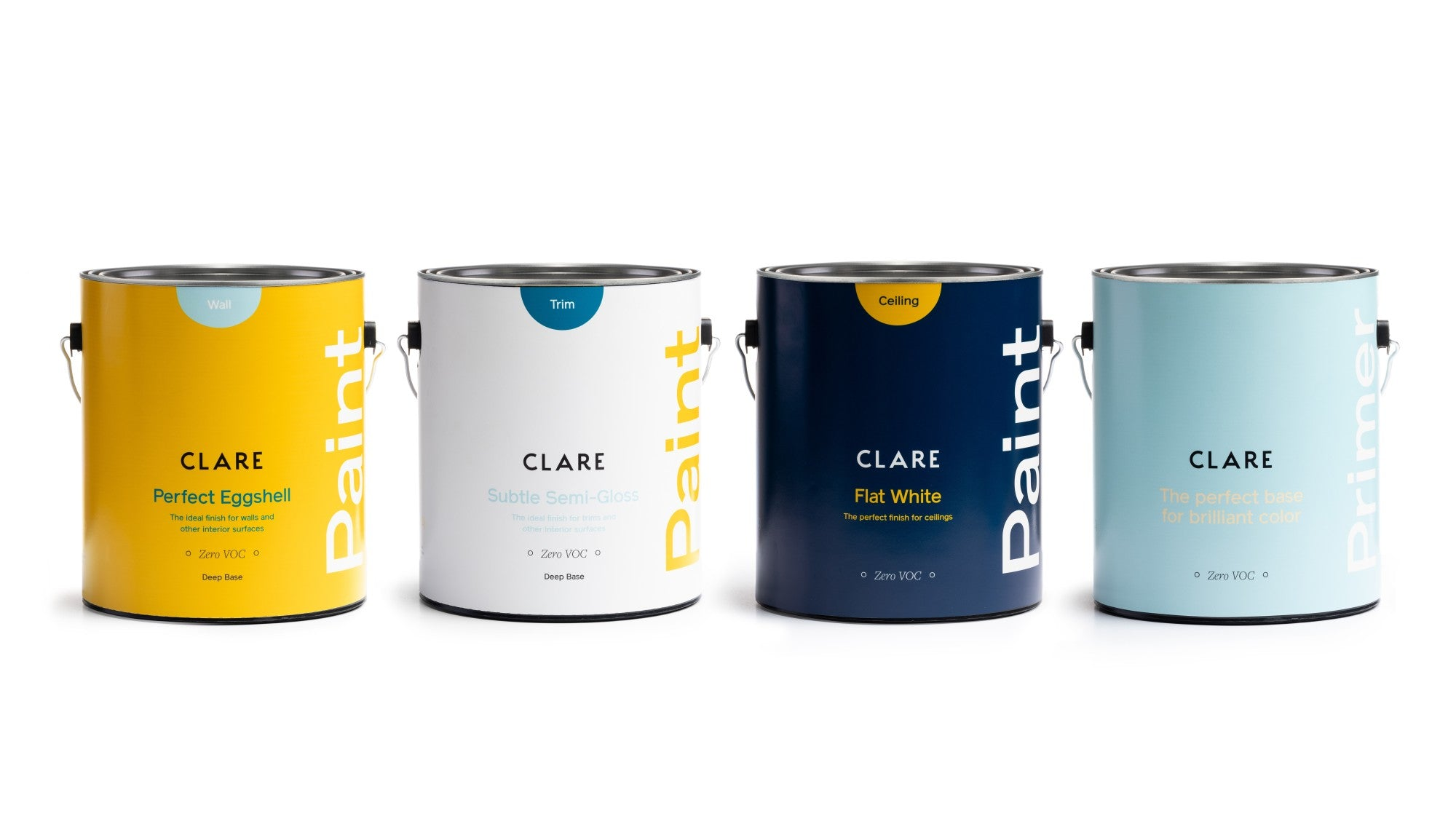 Clare paint cans. Modern paint packaging. Premium paint is the key to a flawless paint job