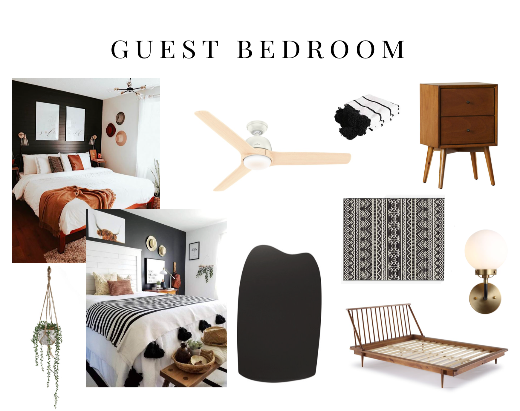 Moodboard for Black Accent Wall Inspiration