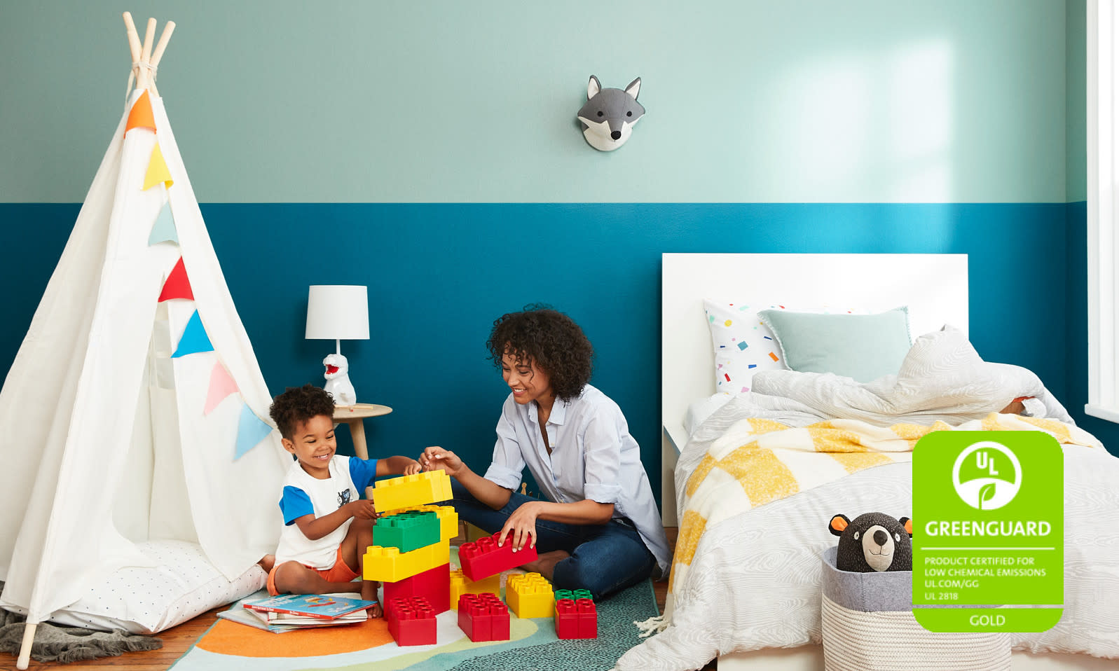 mom and son GREENGUARD Gold certified wall paint Clare