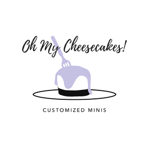 Logo of Oh My Cheesecakes in black, purple and white