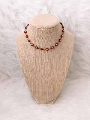 Red Enamel Evil Eye Choker