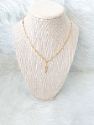 Mini Gold Pave Safety Pin Necklace