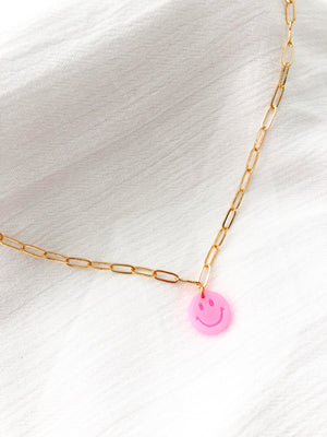 Neon Pink Smiley Face Necklace