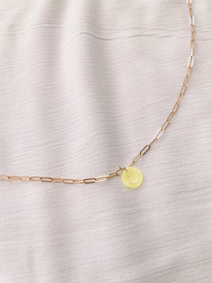 Neon Yellow Smiley Necklace