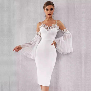 0fc15c38f2 Angelica Lace Bandage Dress in White – Shomie