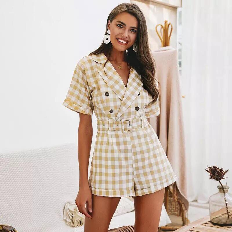015ea30db5 Come My Way Gingham Playsuit in Yellow – Shomie