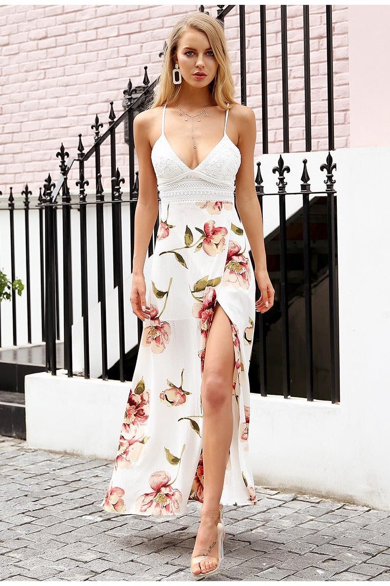 b7627eae0c God Is A Woman Maxi Dress in White Floral – Shomie