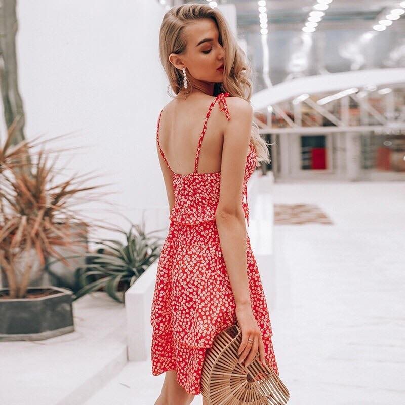 5979355737 Helena Dress in Red Floral – Shomie