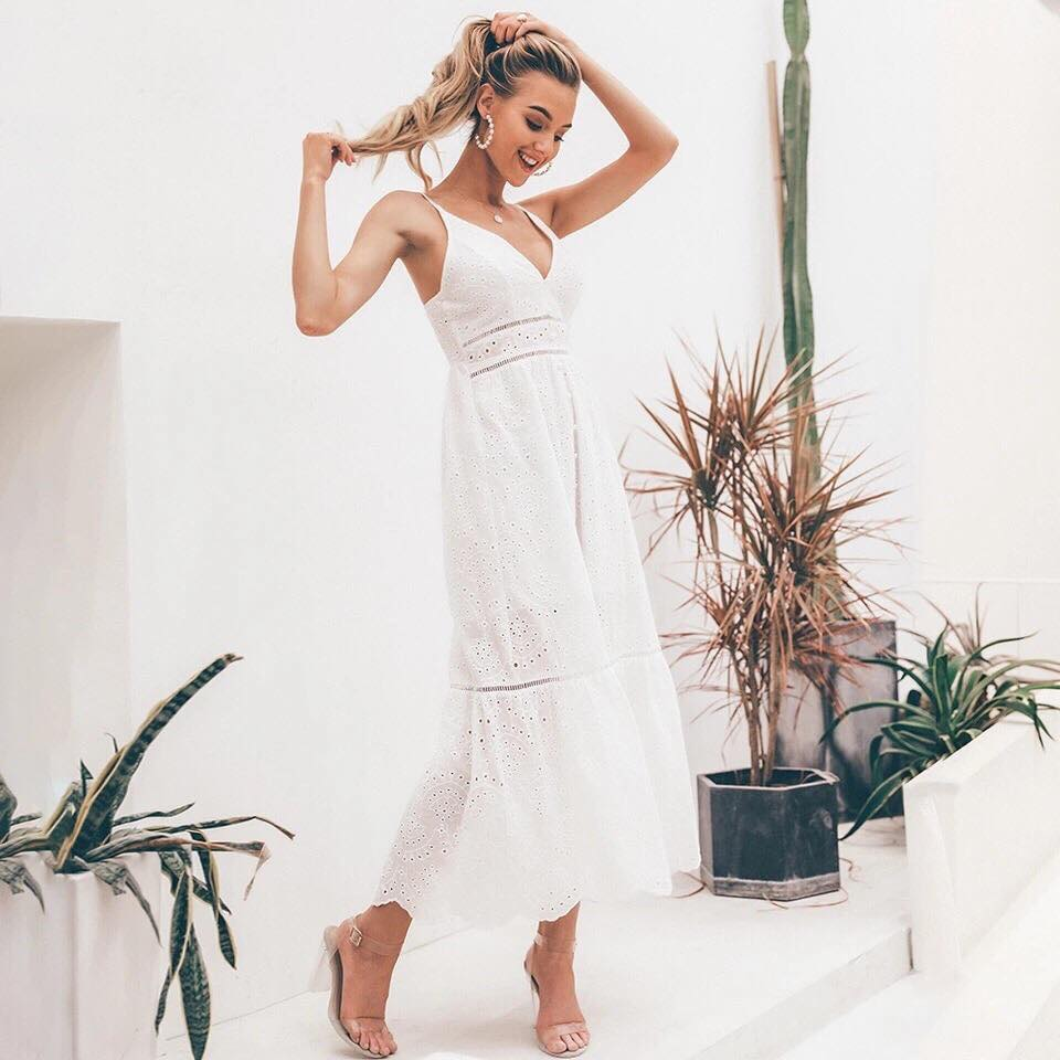 b4622b4f78 Vanessa Embroidery Maxi Dress in White – Shomie