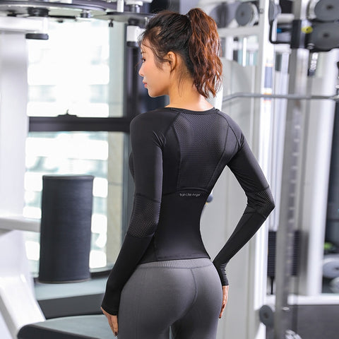 Long Sleeve Mesh Yoga/Exercise Top