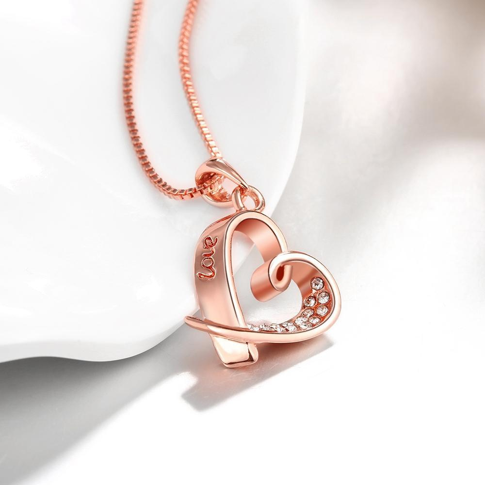 Rose Gold Plated Pave Heart Necklace