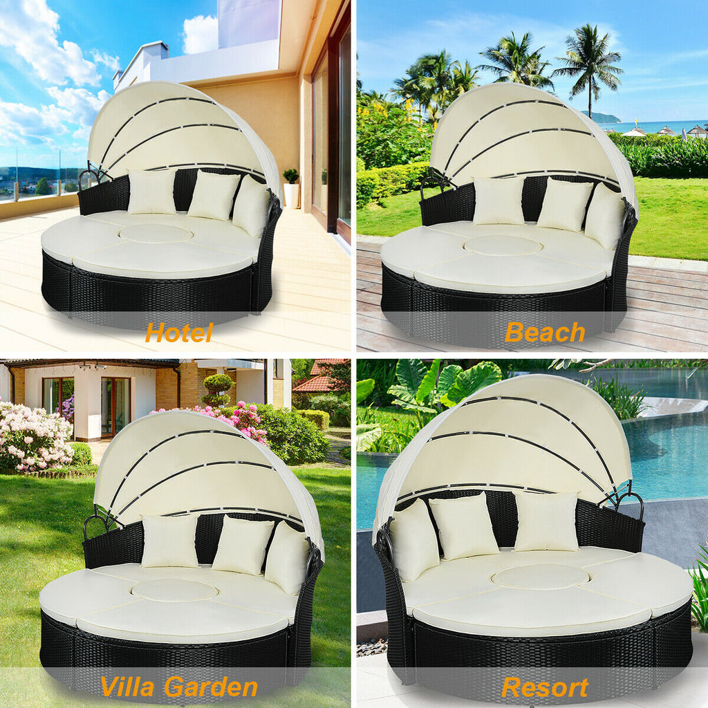 Patio Sofa Set Round Retractable With Canopy