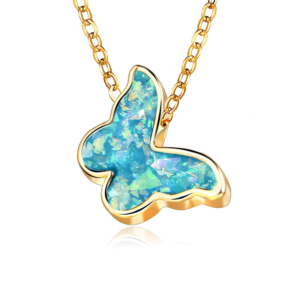 Turquoise Opal Butterfly Necklace