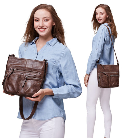 Multi Pocket Leather Shoulder Bag