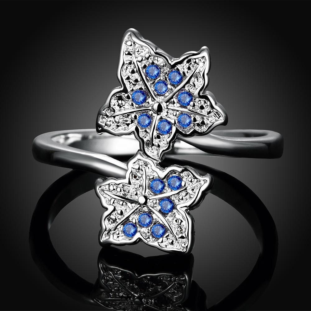 Blue Swarovski Elements Duo Floral Ring