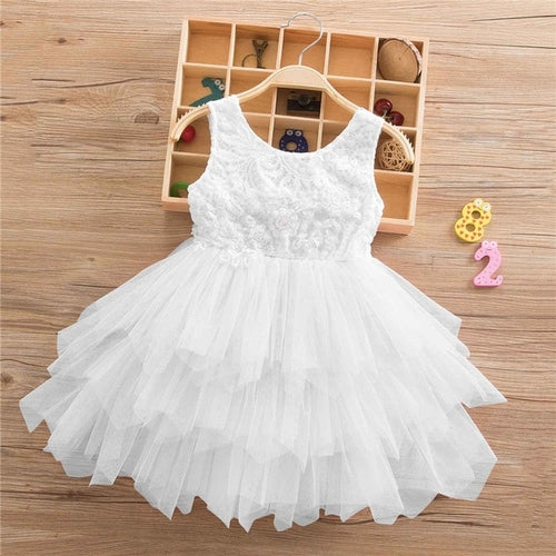 2-8T Summer Lace Girl Dress White Backless Girls
