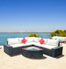 7 Piece  Patio Rattan Wicker Sofa Sectional and Coffee Table