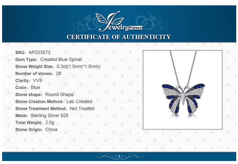 Butterfly 0.4ct Blue Spinel Pendant