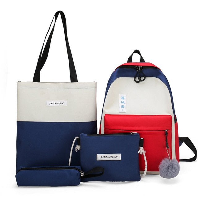4 Piece Canvas Backpack Set