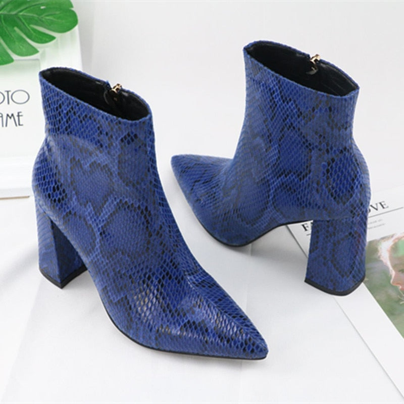 Snake Skin Ankle Boots