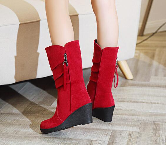 Mid-Calf Pleated Wedge Boots