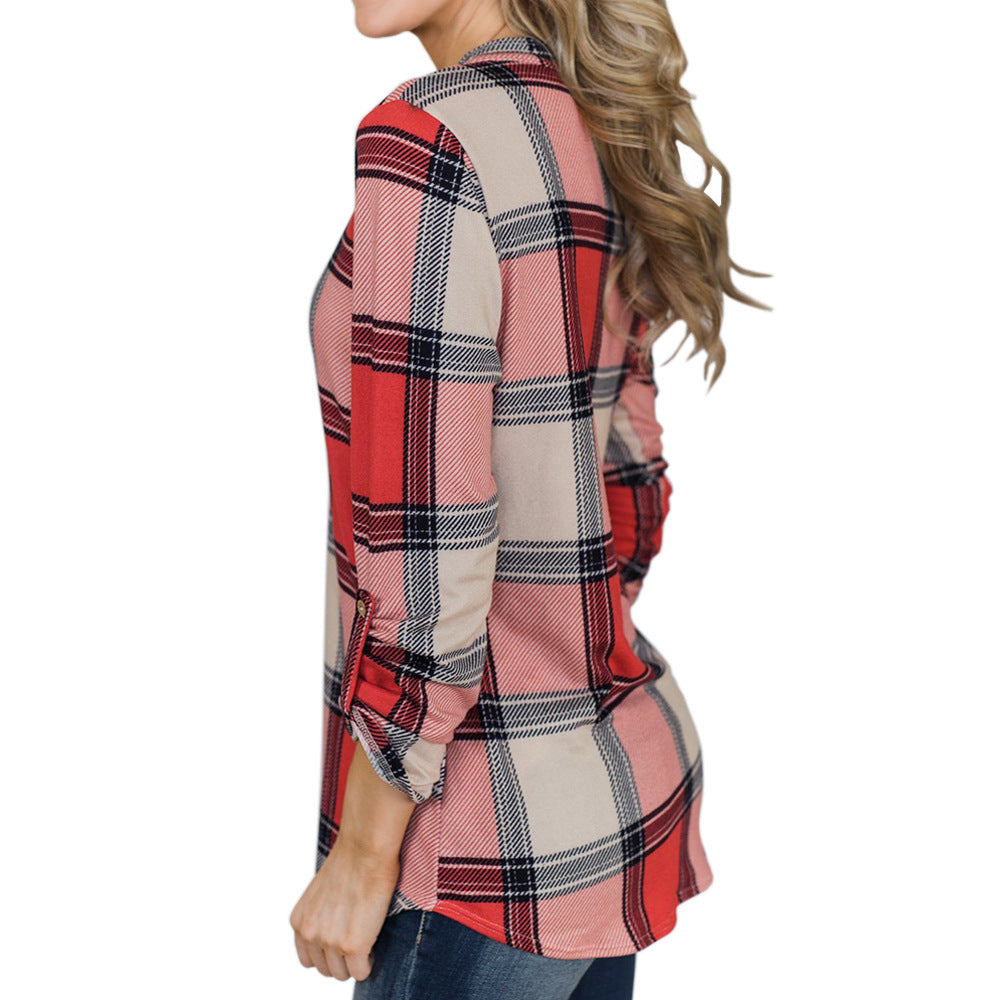 V-neck Long Sleeve Plaid Shirt
