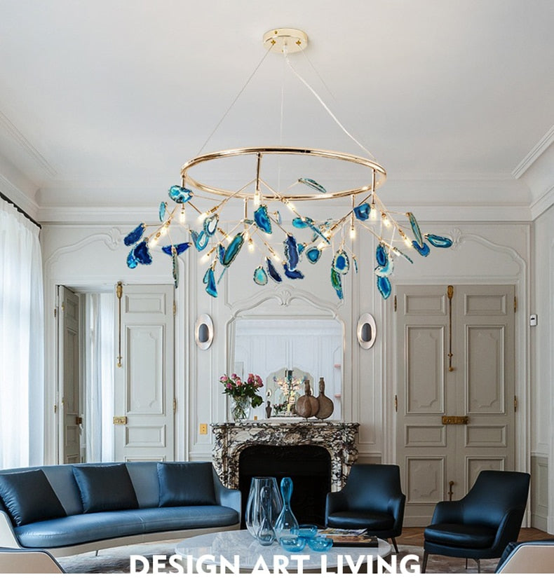 Art Deco Multi-Color LED Branch Chandelier