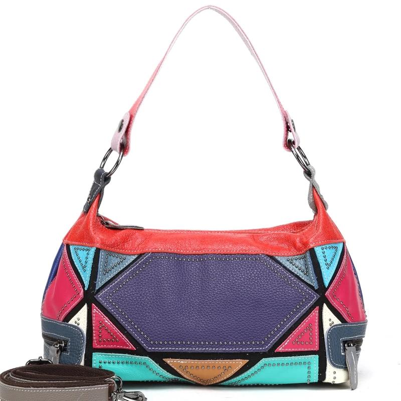 Genuine Leather Patchwork Bag