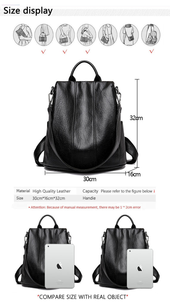 Waterproof Anti-theft Leather Backpacks