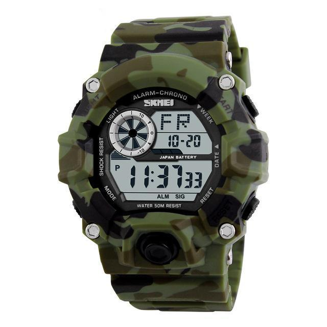 Camouflage Shock Resistant LED Watch