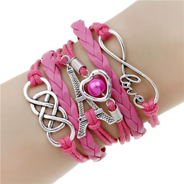 (FREE) Fashionable Leather Charm Bracelet