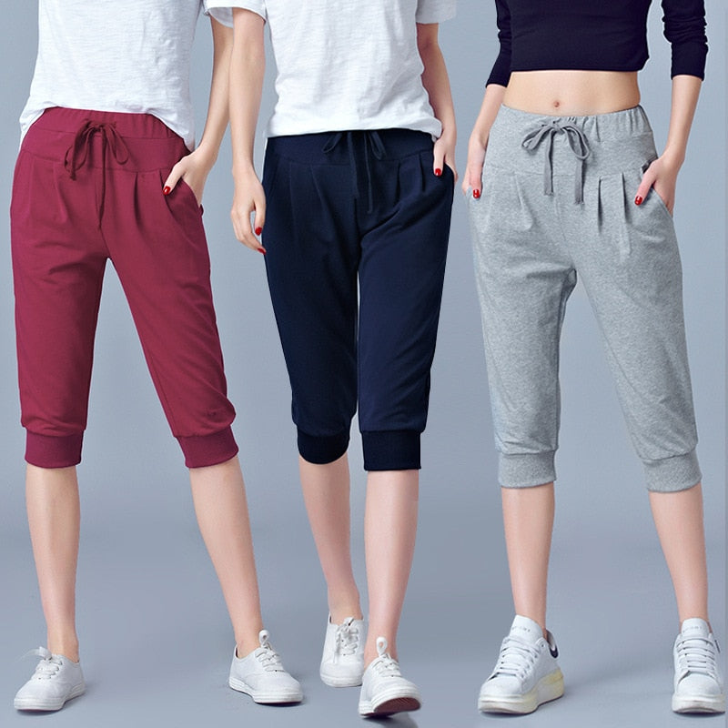 High Waist Stretch Capri Pants