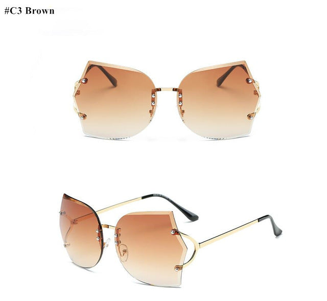 Oversized Rimless Sunglasses