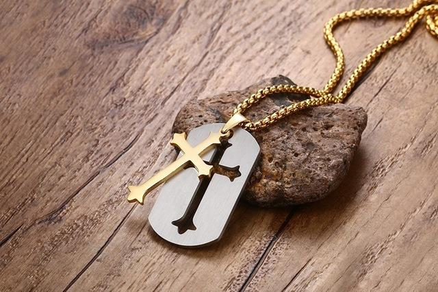 (FREE!) Stainless Steel Gold Cross Necklace