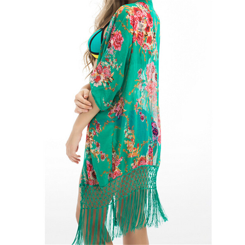 Tassel Trim Floral Cover-up