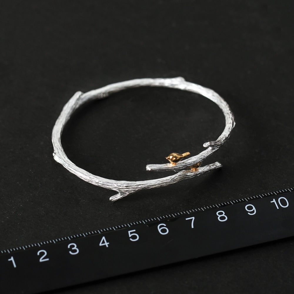 Handmade Bird on a Branch Bracelet