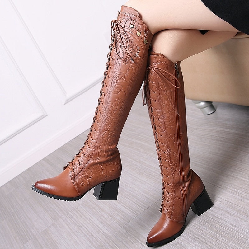 Genuine Leather Knee-High Boots