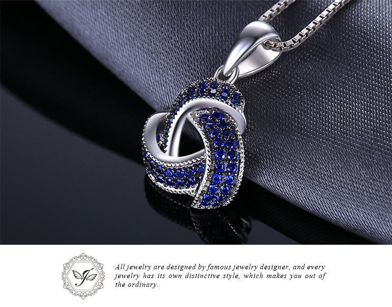 0.5ct Blue Spinel Flower Pendant Necklace