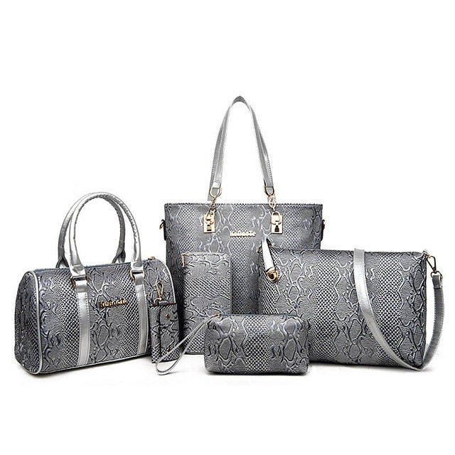 6 Piece Alligator Skin Bag Set